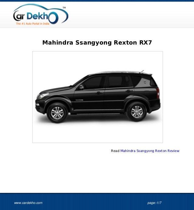 Mahindra Ssangyong Rexton RX7                                 Read Mahindra Ssangyong Rexton Reviewwww.cardekho.com       ...