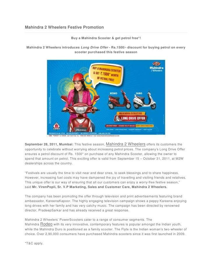 Mahindra 2 Wheelers Festive Promotion