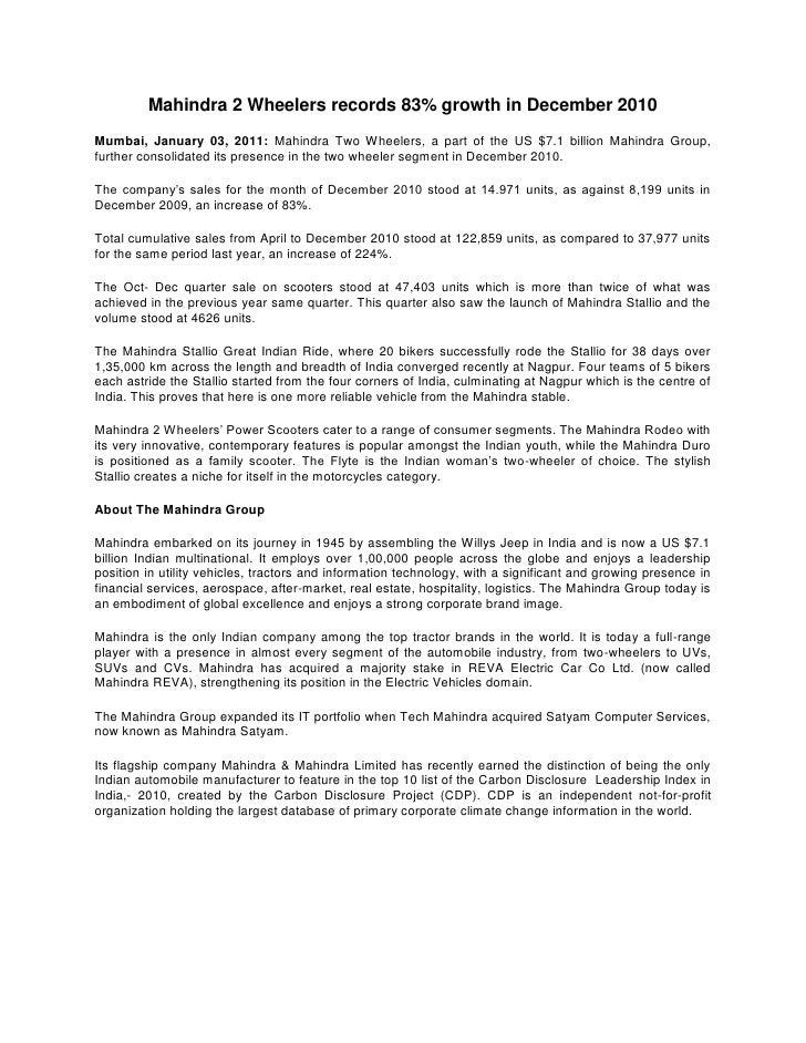 Mahindra 2 Wheelers records 83% growth in December 2010 <br />Mumbai, January 03, 2011: Mahindra Two Wheelers, a part of t...