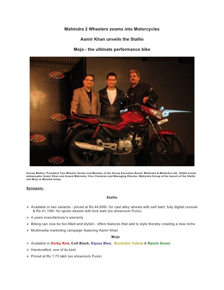 Mahindra 2 Wheelers zooms into Motorcycles                                         Aamir Khan unveils the Stallio         ...