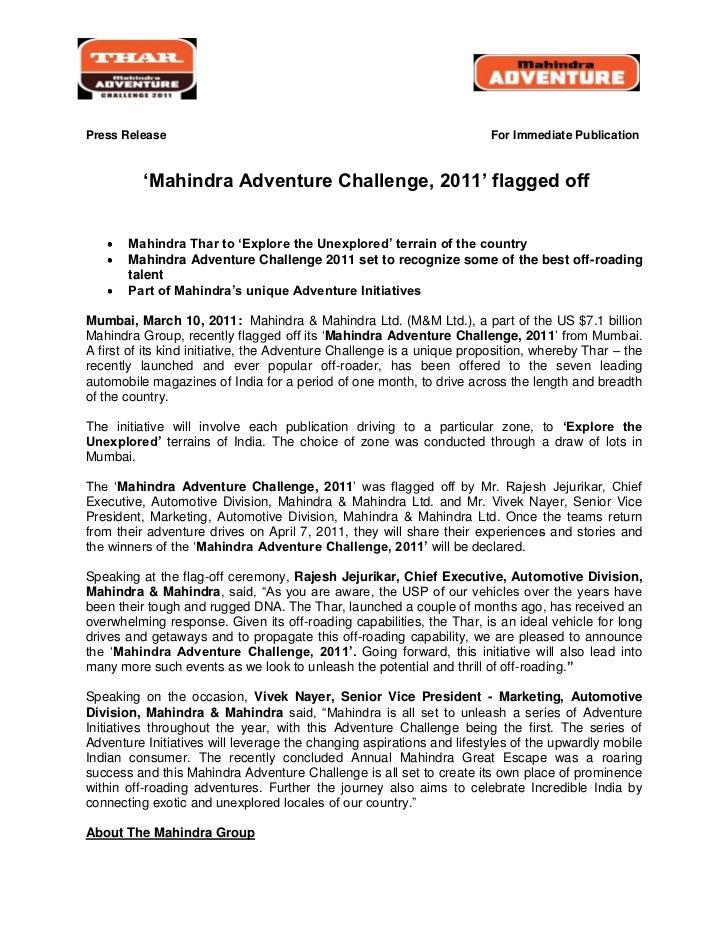 Press Release                                                           For Immediate Publication          'Mahindra Adven...