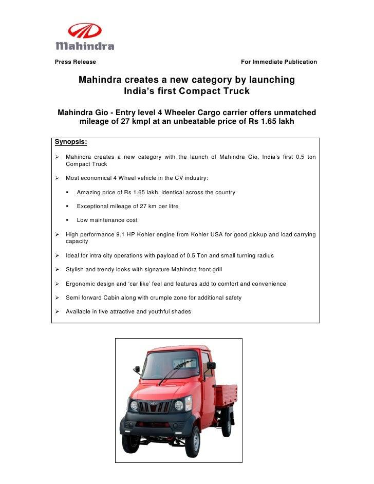 Press Release                                                          For Immediate Publication           Mahindra create...
