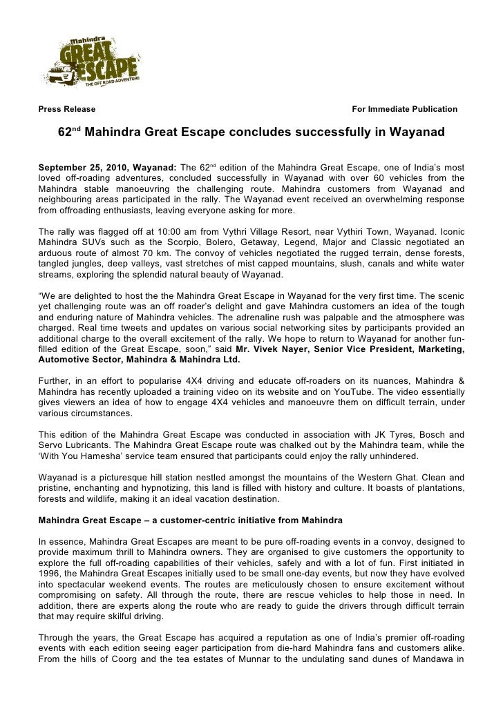 Press Release                                                                   For Immediate Publication      62nd Mahind...