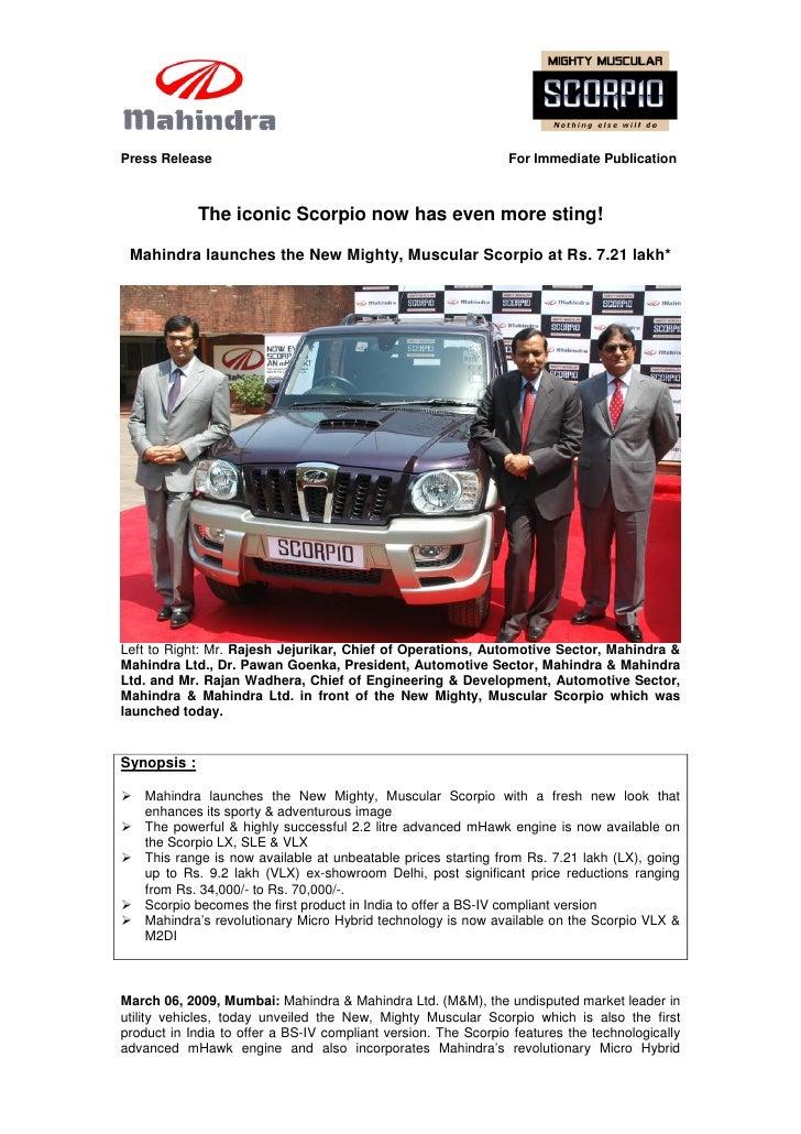 Mahindra Launches the New Mighty Muscular Scorpio - PR