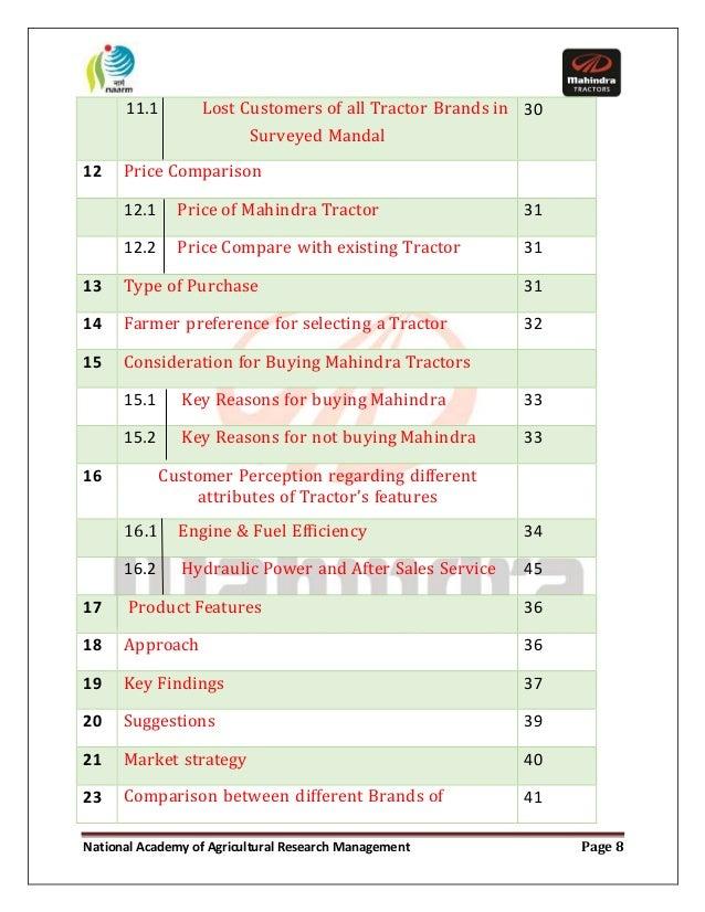 essay on customers perception regarding mahindra tractors