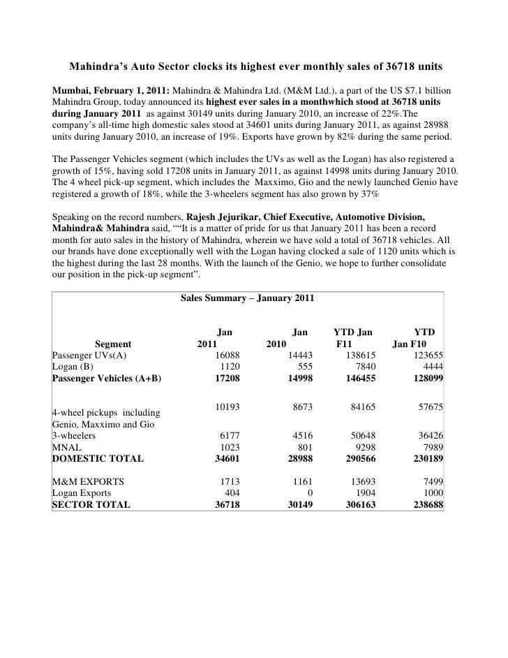 Mahindra's Auto Sector clocks its highest ever monthly sales of 36718 units<br />Mumbai, February 1, 2011: Mahindra & Mahi...