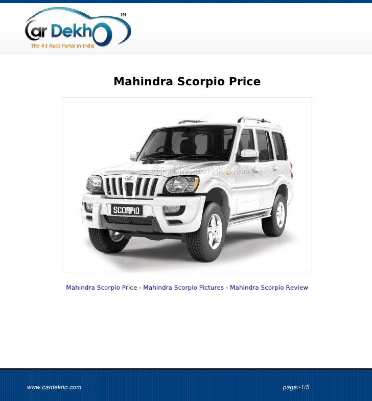 Mahindra Scorpio Price           Mahindra Scorpio Price - Mahindra Scorpio Pictures - Mahindra Scorpio Reviewwww.cardekho....