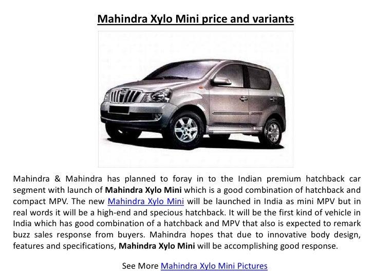 Mahindra Xylo Mini price and variants