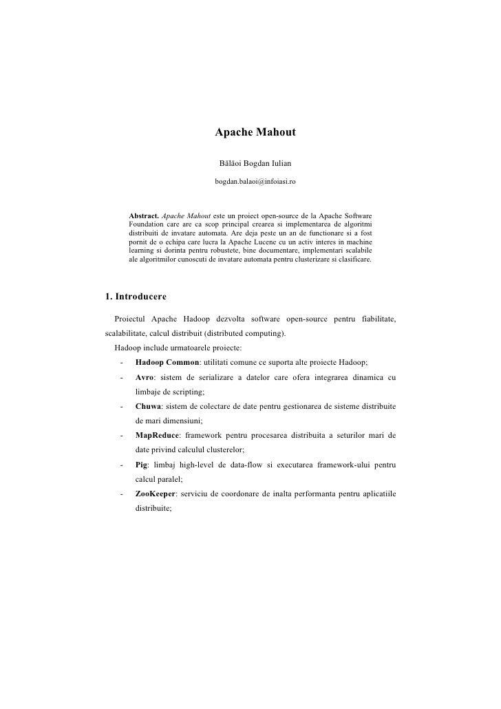 Apache Mahout                                        Bălăoi Bogdan Iulian                                       bogdan.bal...