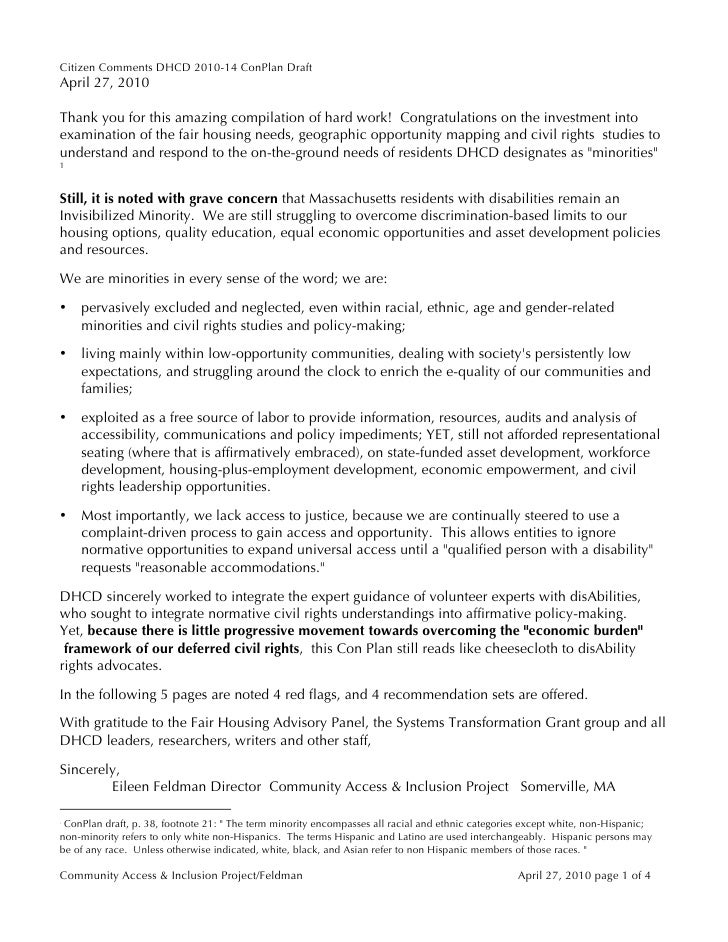 Massachusetts CDBG Five-Year Plan Comments FELDMAN