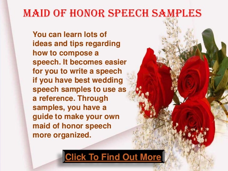 Need Help Writing A Maid Of Honor Speech