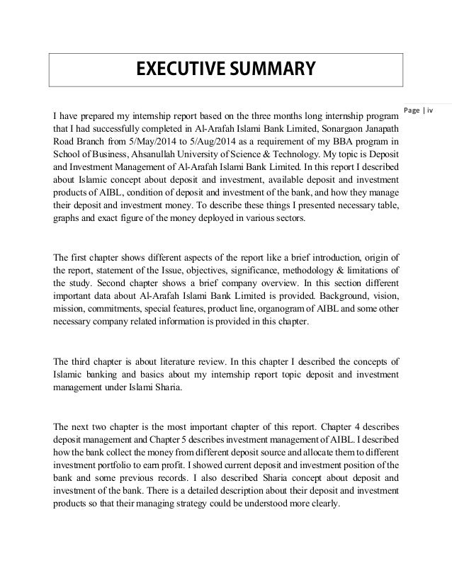 writing an executive summary for a report