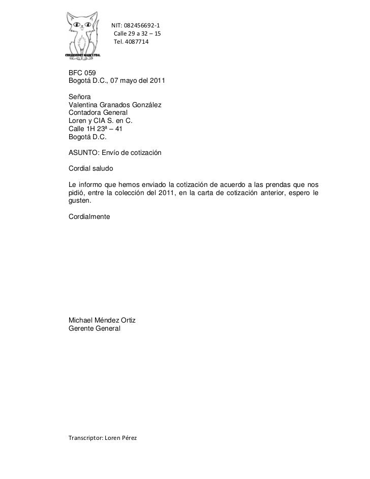 NIT: 082456692-1                Calle 29 a 32 – 15                Tel. 4087714BFC 059Bogotá D.C., 07 mayo del 2011SeñoraVa...