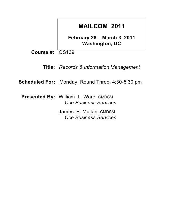 MAILCOM 2011                   February 28 – March 3, 2011                        Washington, DC    Course #: OS139       ...