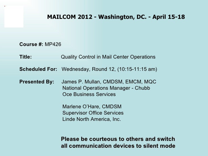 Quality Control In Mail Center Operations