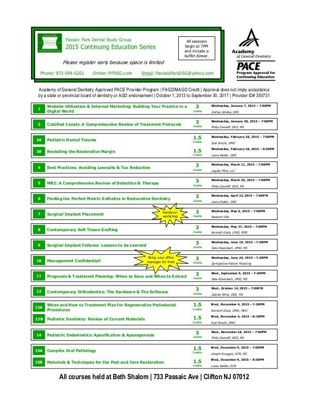 Passaic Park Dental Study Group  2015 Continuing Education Series  Online: PPDSG.com Email: PassaicParkDSG@yahoo.com  Acad...