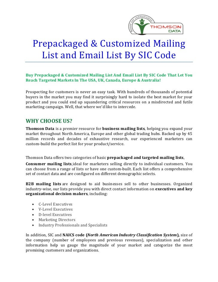 Prepackaged & Customized Mailing     List and Email List By SIC CodeBuy Prepackaged & Customized Mailing List And Email Li...
