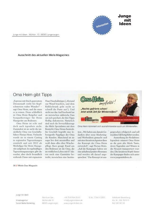 Junge mit Ideen . Mühlstr. 10 . 88085 Langenargen  Ausschnitt des aktuellen Miele-Magazines  Junge mit Ideen Fabrik am See...