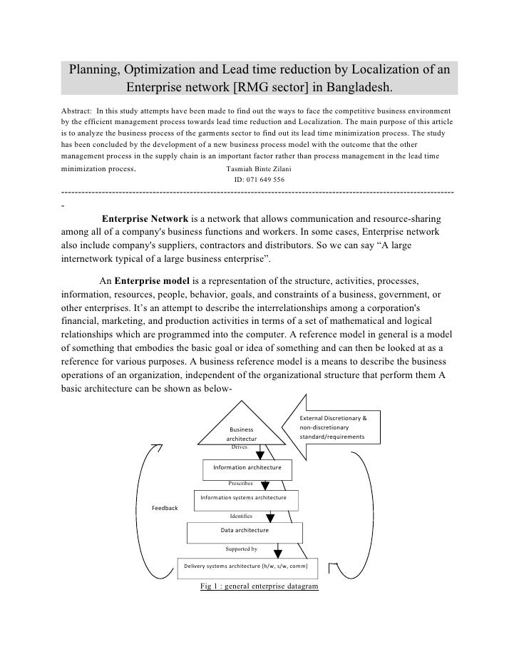 Planning, Optimization and Lead time reduction by Localization of an             Enterprise network [RMG sector] in Bangla...