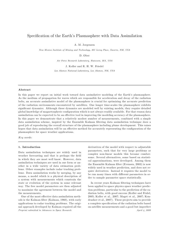 Specification of the Earth's Plasmasphere with Data Assimilation                                                     A. M. ...