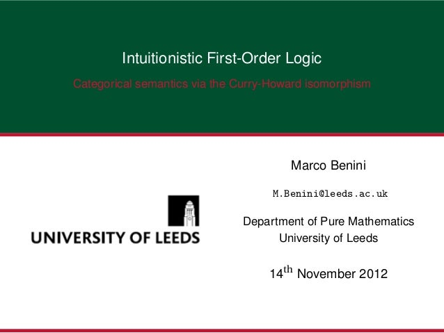Intuitionistic First-Order LogicCategorical semantics via the Curry-Howard isomorphism                                    ...
