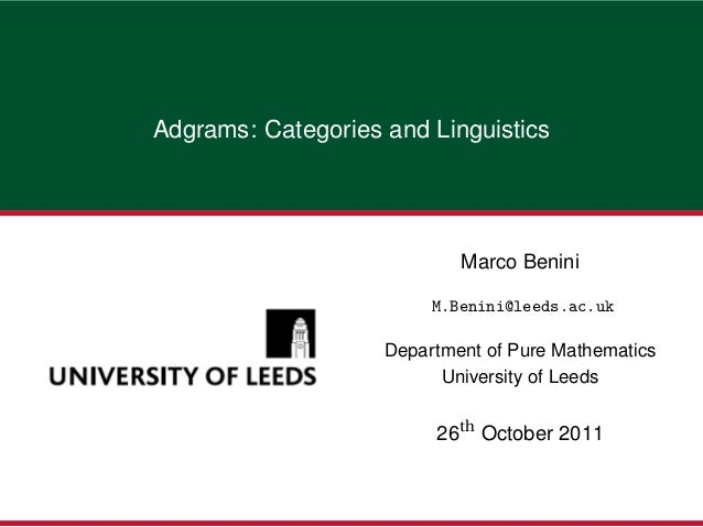 Adgrams: Categories and Linguistics                            Marco Benini                         M.Benini@leeds.ac.uk  ...