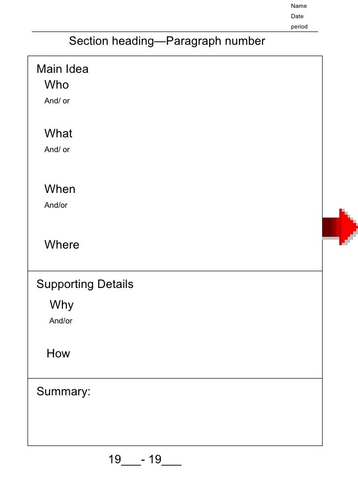 Main Idea Who And/ or What And/ or When And/or Where  Supporting Details Why And/or How Section heading—Paragraph number N...