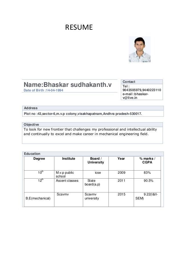 RESUME                                                            ContactName:Bhaskar sudhakanth.v                        ...
