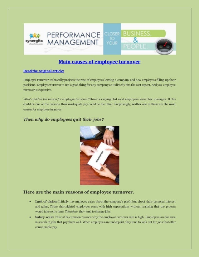 Main causes of employee turnover