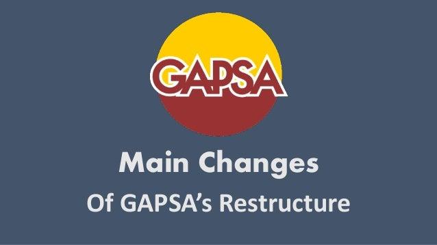 2012-2013 - Main Changes GAPSA