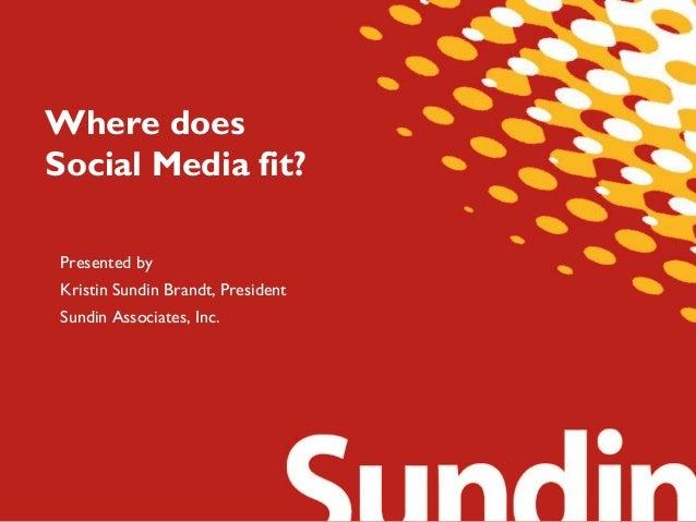 Where does Social Media fit? Presented by Kristin Sundin Brandt, President Sundin Associates, Inc.