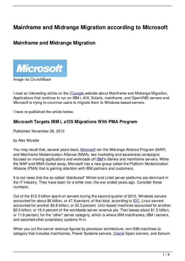 Mainframe and Midrange Migration according to Microsoft