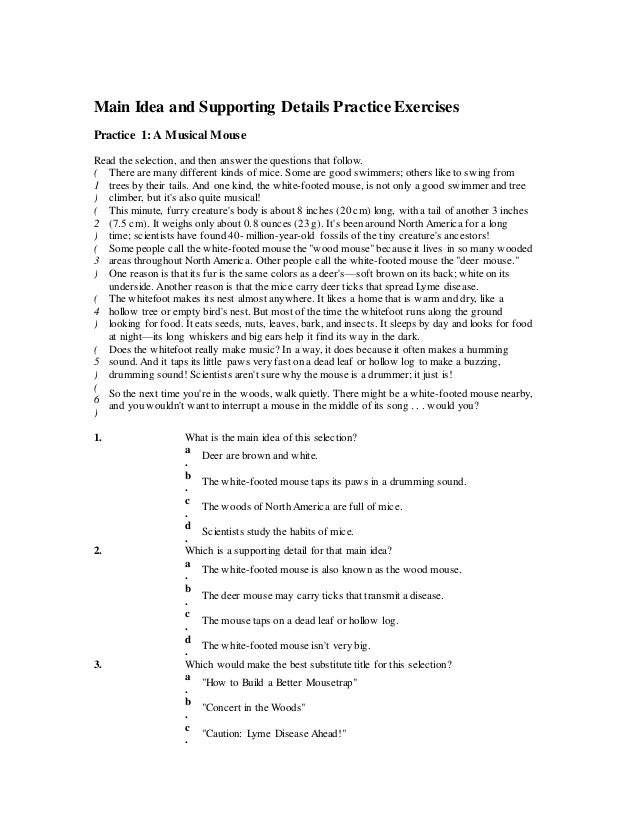 Main idea and supporting details practice exercise