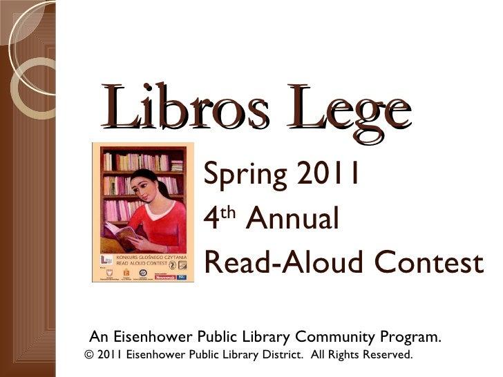 Libros Lege 2011 - 4th Annual Read-Aloud Contest Information