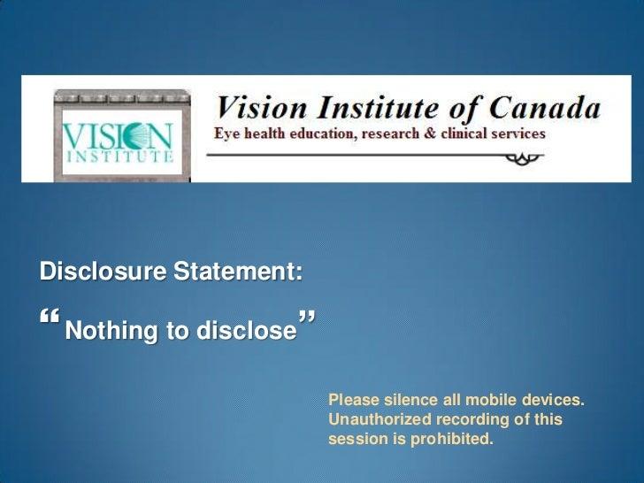 3 D Vision Syndrome: Toronto