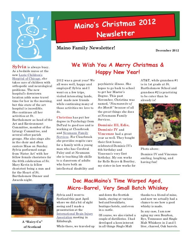 Maino Family Christmas Newsletter 2012