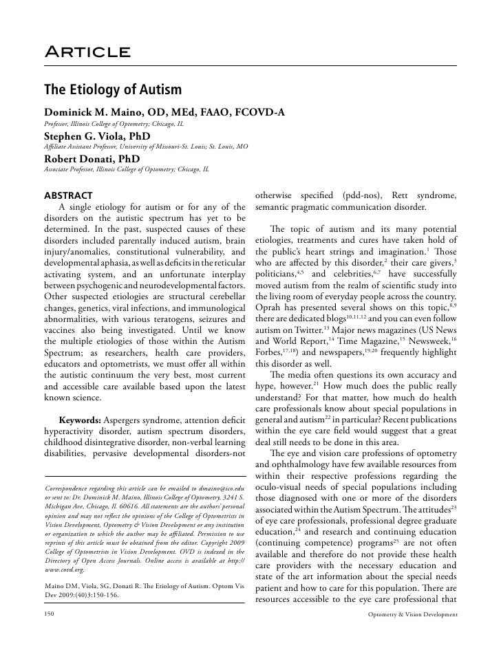 The Etiology Of Autism.