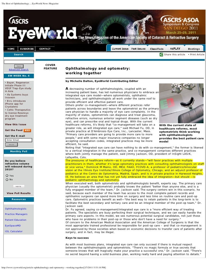 The Best of Ophthalmology.....EyeWorld News Magazine              Search                                                  ...