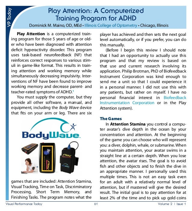 Play Attention: A Computerized Training Program for ADHD Reviewed by Dominick Maino
