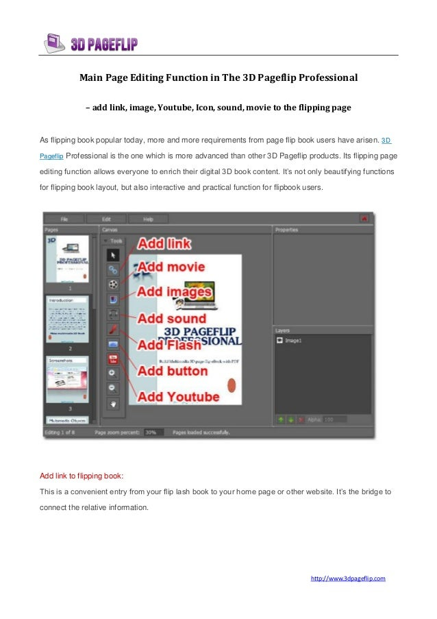 Main page editing function in the 3d pageflip professional - pro flip book maker | 3DPageFlip