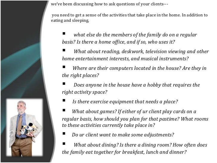 Dealing with client a relationship between client and for Office design questionnaire
