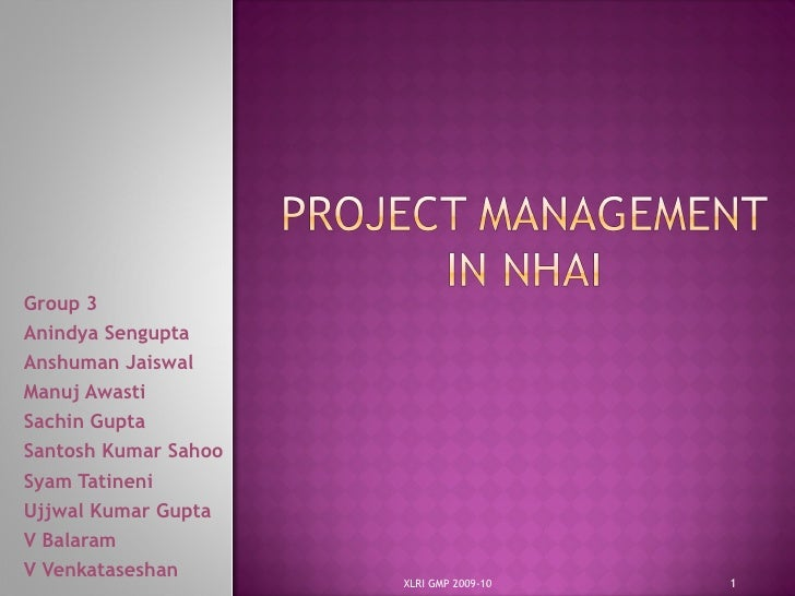 Project management in NHAI