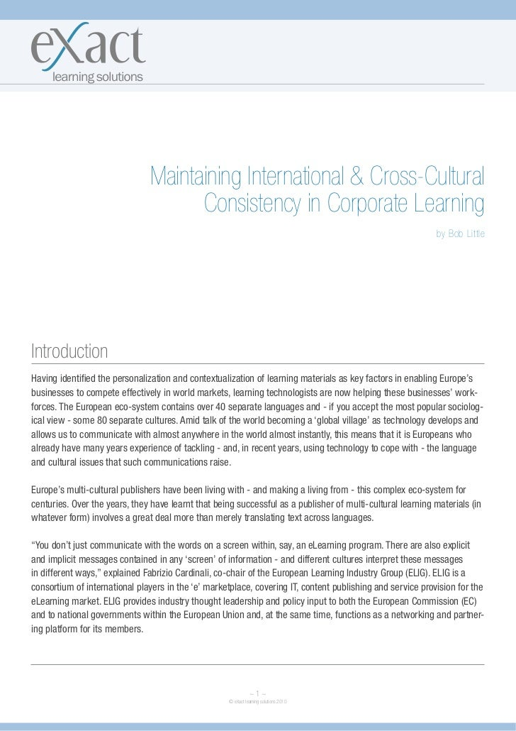 Maintaining International & Cross-Cultural                                     Consistency in Corporate Learning          ...
