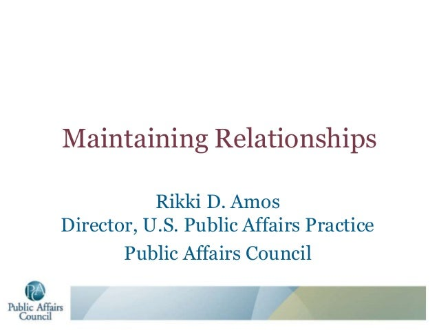 Maintaining Relationships- Rikki Amos
