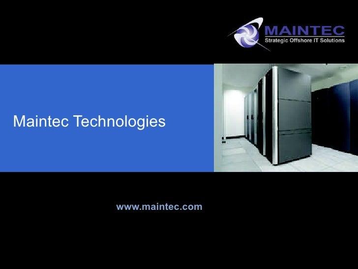 Maintec Corporate Overview