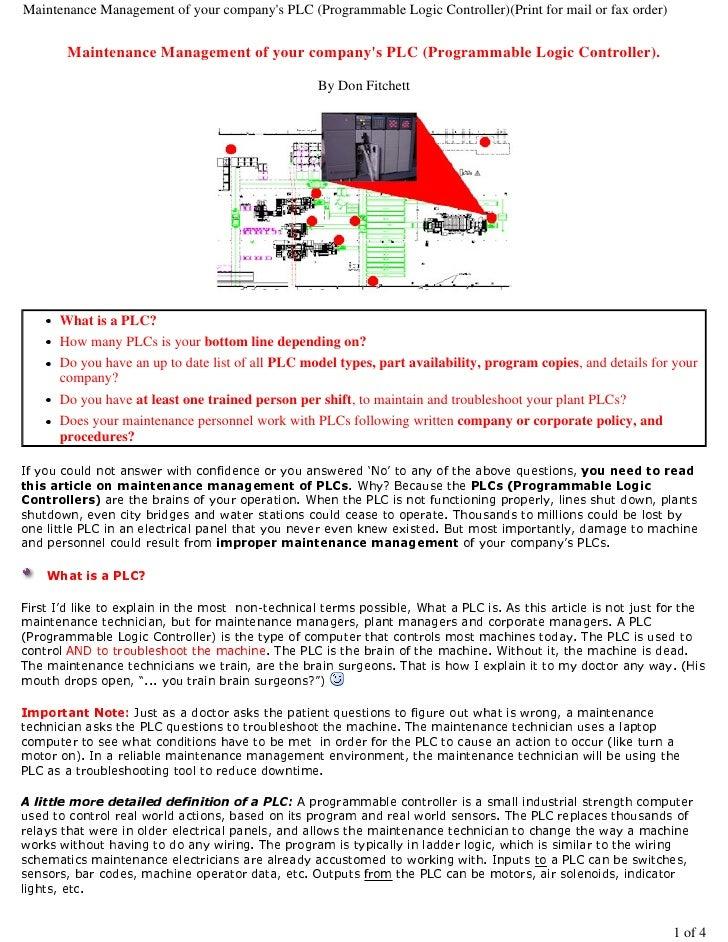 Maintenance management of your PLCs