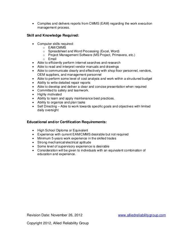 Maintenance Job Description Resume,Maintenance manager resume ...