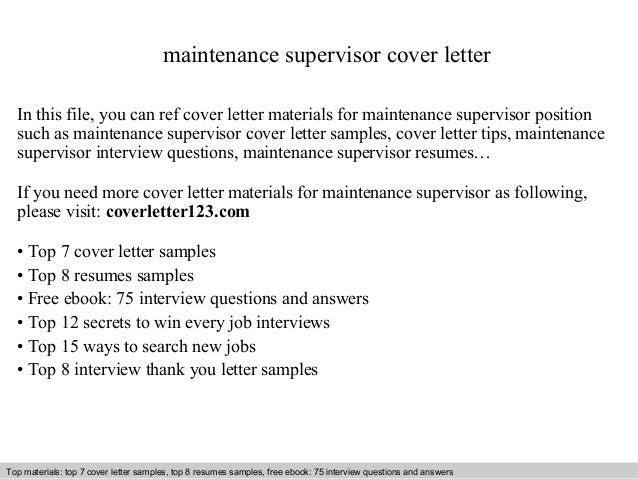 maintenance supervisor cover letter