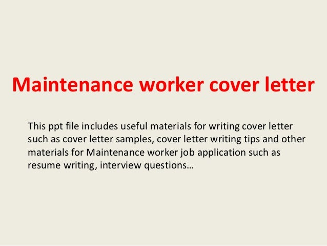 Maintenance Manager Application Letter