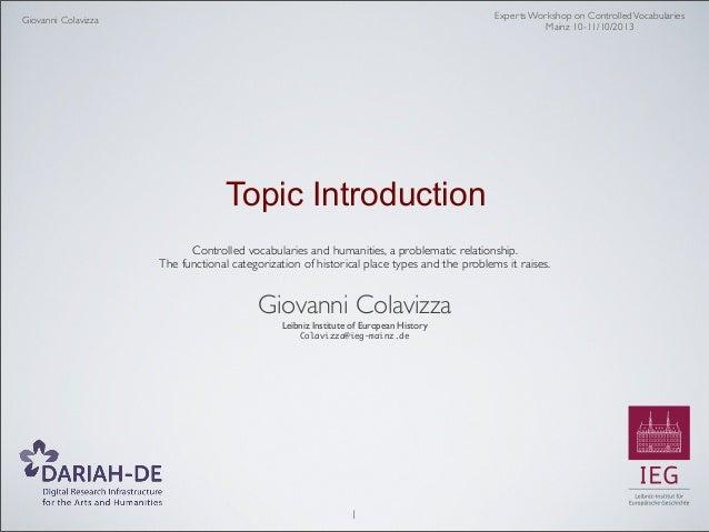 Mainz Expert Workshop on Controlled Vocabularies 10/10/2013